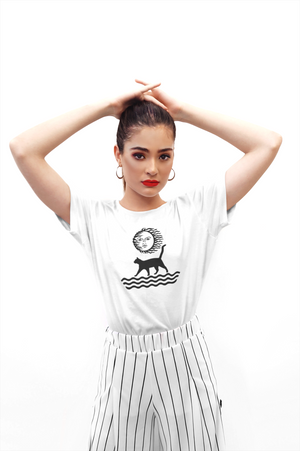 Organic cotton women's white graphic tee