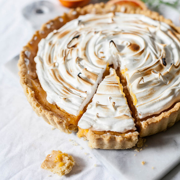 Pie with meringue topping; Photo by Alex Loup on Unsplash