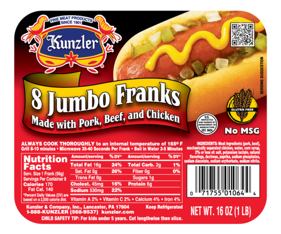 Pack of 8 Kunzler Hot Dog