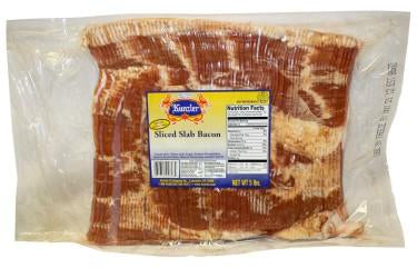 5 pound sealed package of sliced slab bacon  Pork, Water, Salt, Sugar, Sodium Phosphates, Sodium Erythorbate, Natural Flavorings, Sodium Nitrite