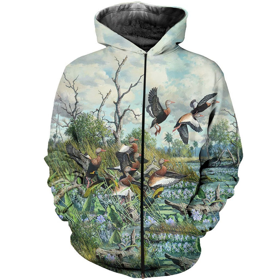 16b5efbc81e4 3D All Over Printed Duck Hunting Art Shirts and Shorts h6512