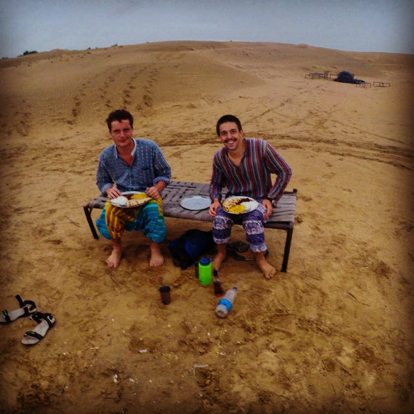 Eating a curry in Jaisalmer Desert before it started raining