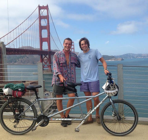 Cycling on a tandem round Golden Gate Bridge in San Francisco, California