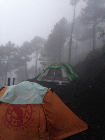 Sights of our wet tents at base camp