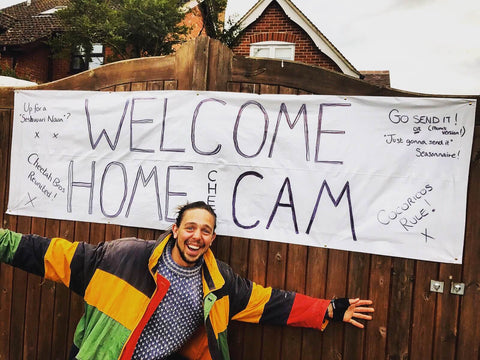 Welcome Home Banner for Cam Kav after travelling