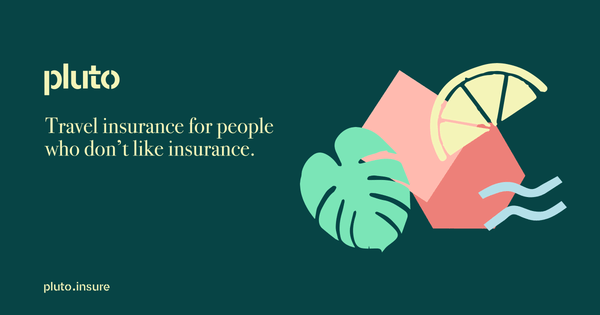 Graphic explaing pluto travel insurance is for people who don't like insurance