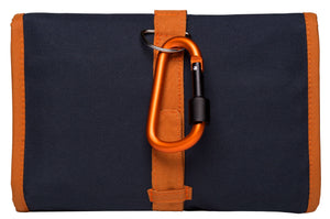 Closed Back of Kilimanjaro Savvy Travel Pack showing screw lock carabiner
