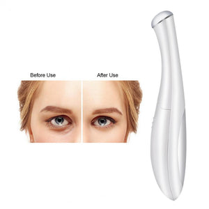 Eye Massager, Vibration 42℃ Heated Under Eye Massager Wand - Relieves Dark Circles Puffiness Eye Wrinkle Device