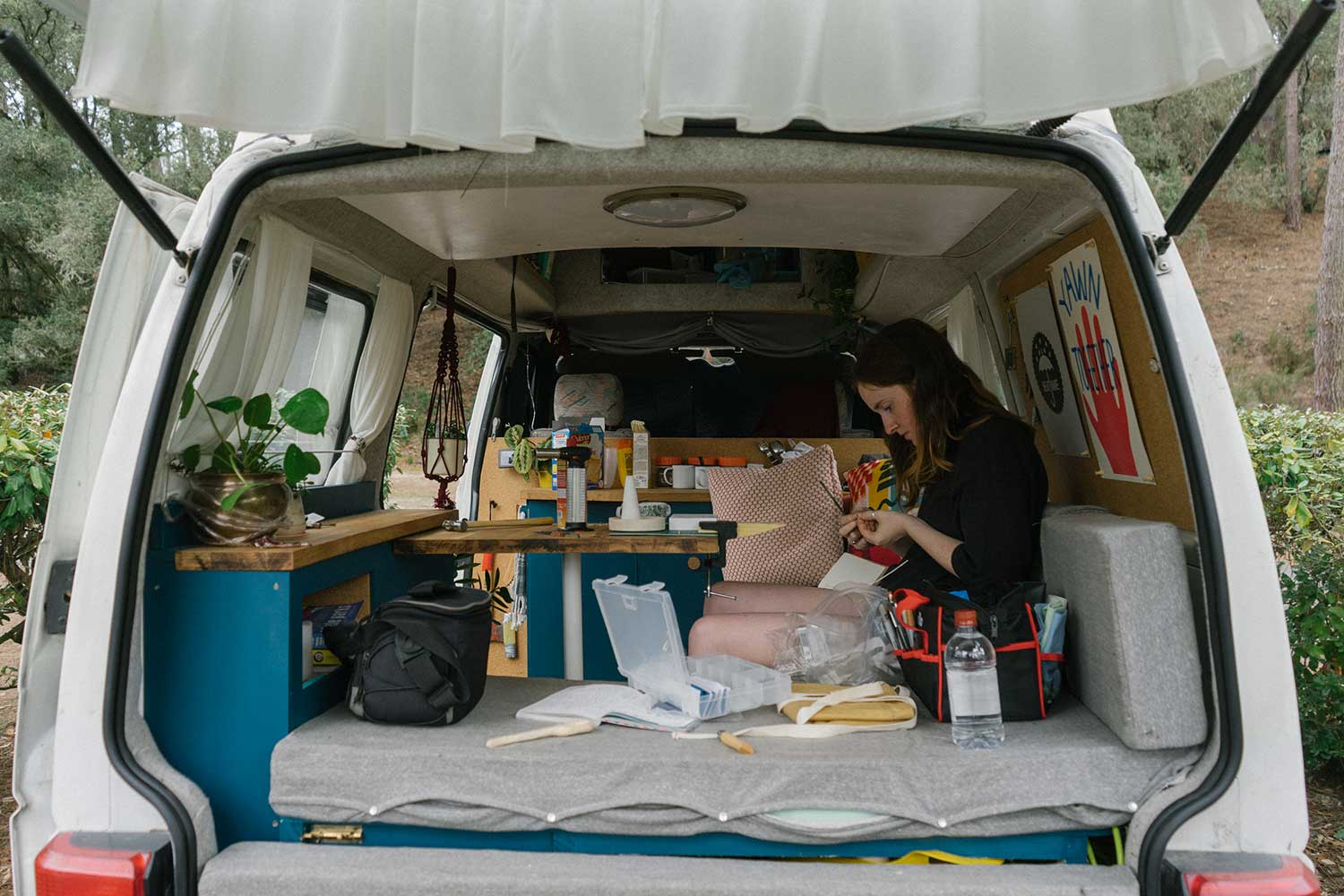Jewellery making set-up in the back fo the van
