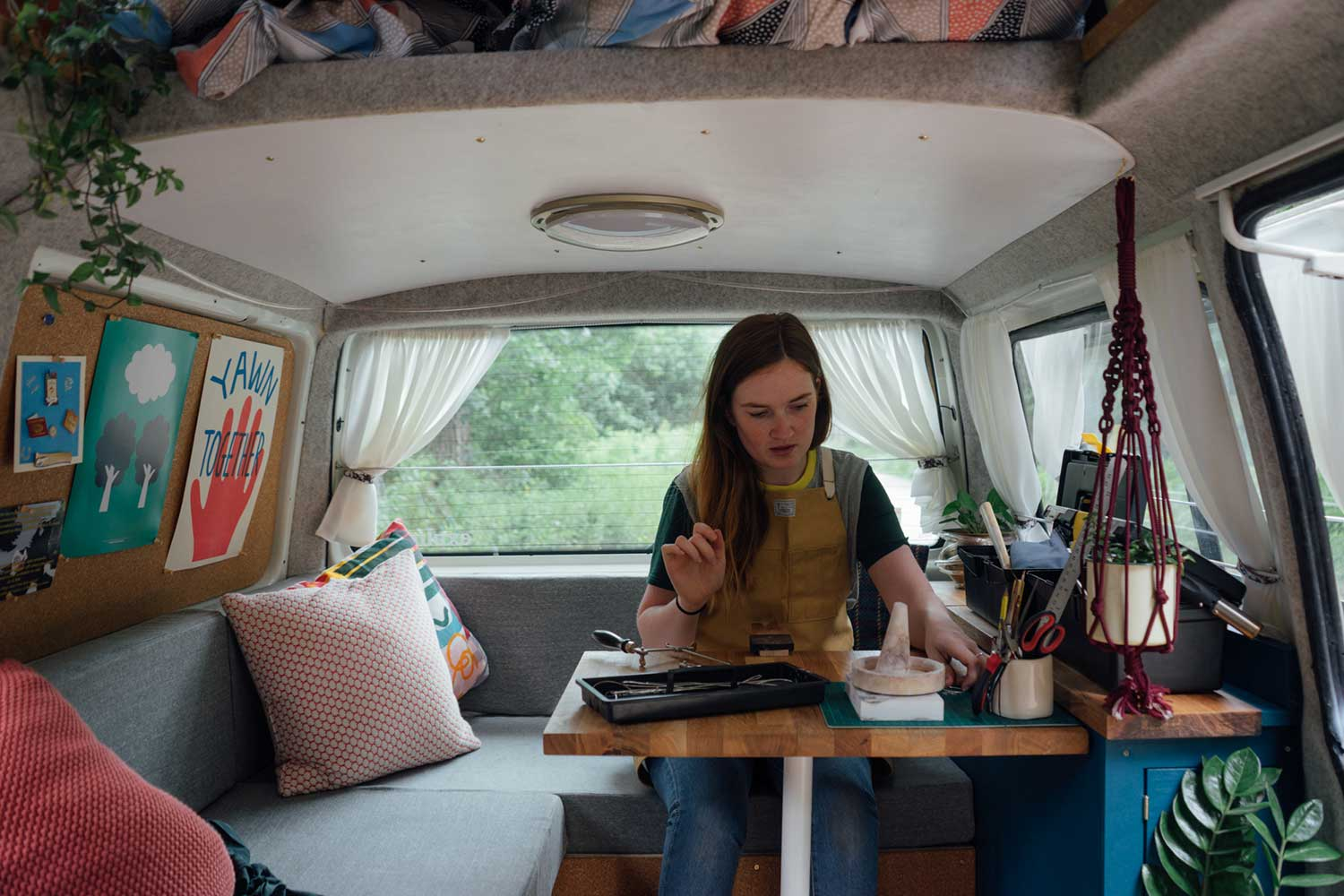 Jewellery making set-up in the back of the campervan