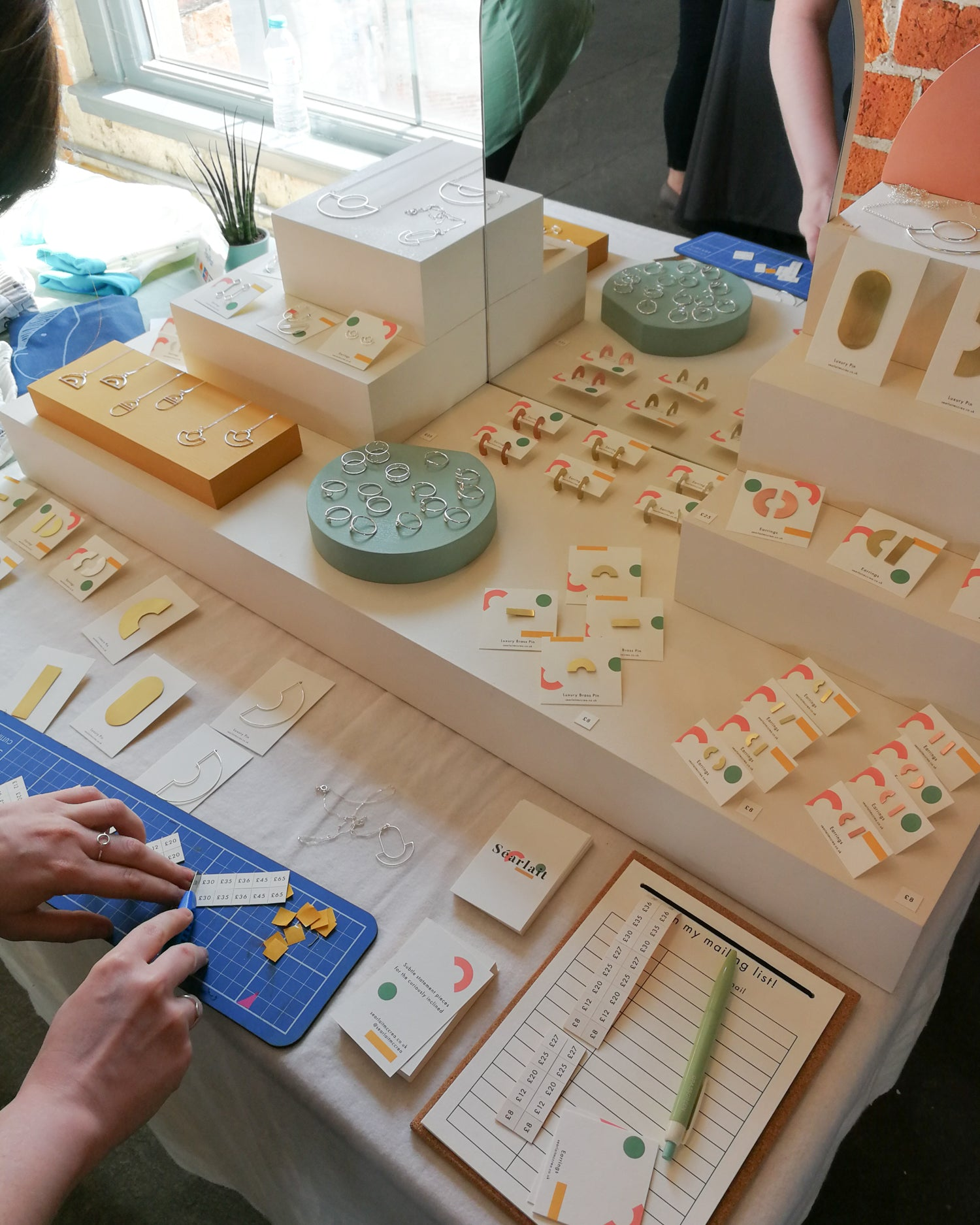 Today jewellery craft fair display set-up at Northern Craft