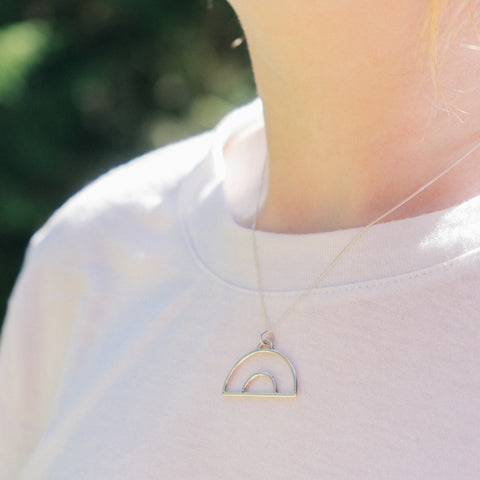 Minimal rainbow necklace in solid silver