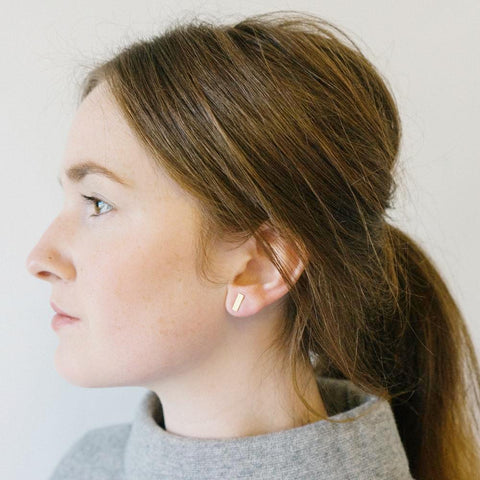 Mini rectangle eco friendly stud earrings by Today on model