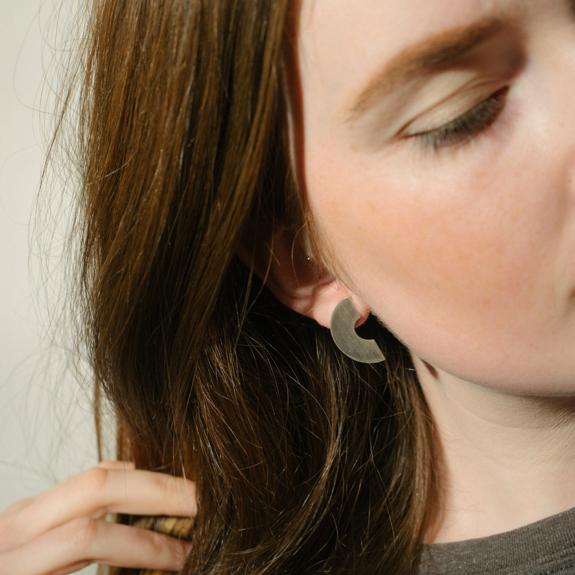 Geometric arc statement earrings in eco silver