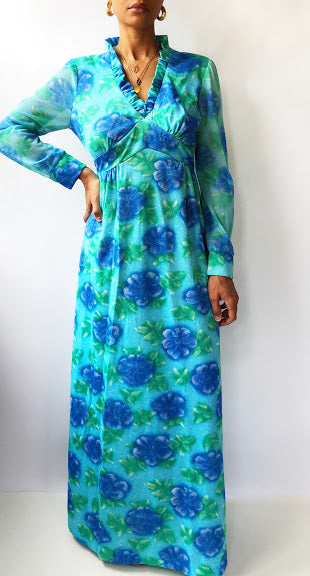 70s Blue and Green Floral Gown (M)