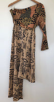 Tribal Mixed Print Asymmetrical Dress (M/L)