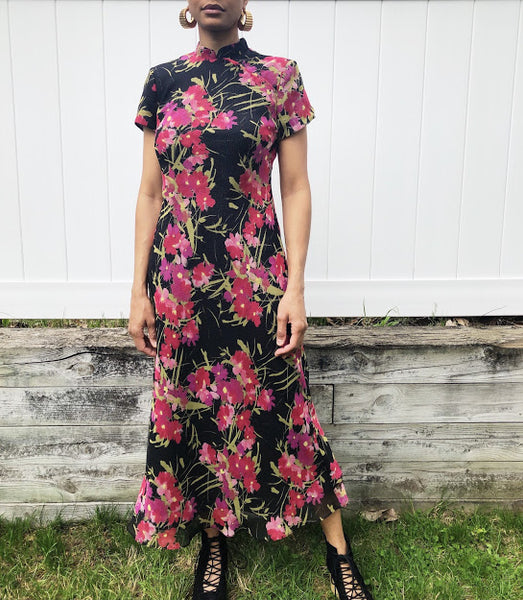 90s CDC Petites Asian Style Maxi Dress (Medium)