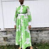 60s Handmade Green and White Floral Dress (S)