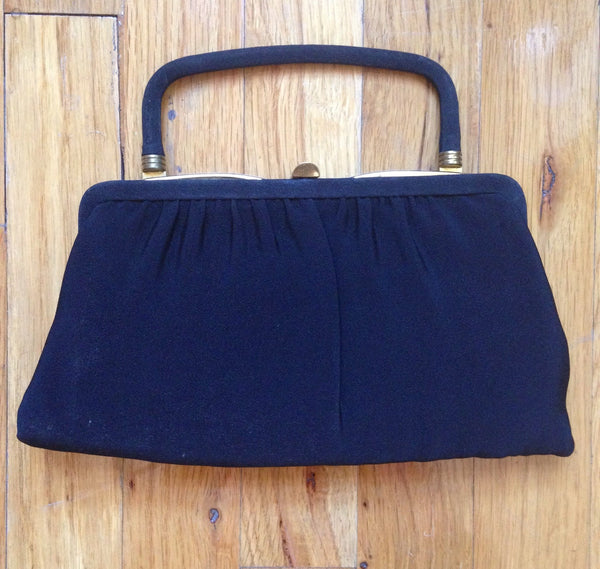 Vintage Garay USA Black Evening Purse - 1940s 1950s Handbag