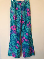 70s Teal Flower Power Flared Pants (Vintage 10, S/M)
