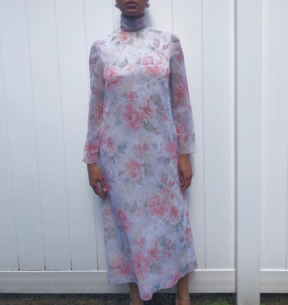 Handmade Floral Sheer Sleeved Dress (S/M)