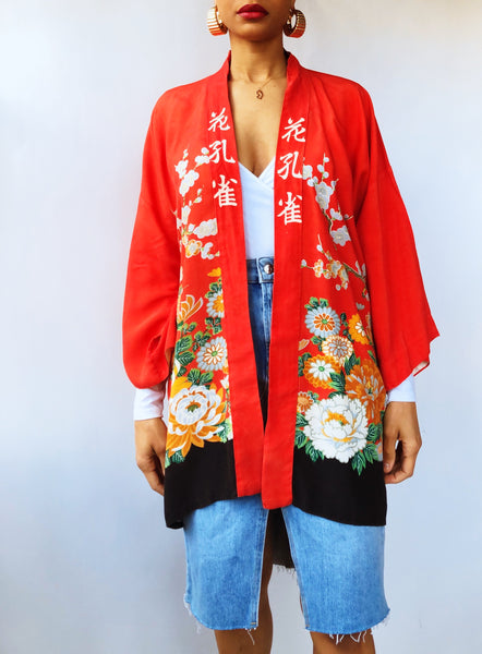 Red Asian Peacock Robe (One Size)