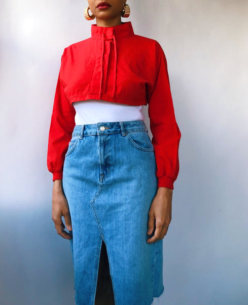 Reworked Cherry Red Cropped High Neck Top (S)