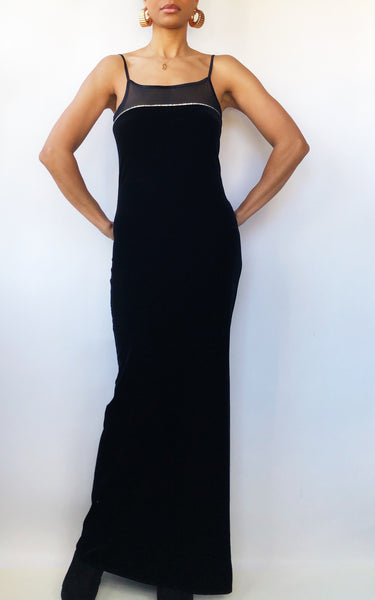 90s Jump Apparel Black Velvet Rhinestone Maxi Dress (5/6)