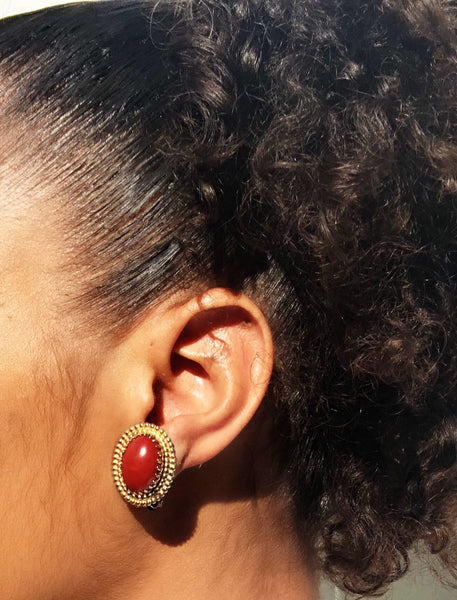 Burgundy Egg Earrings
