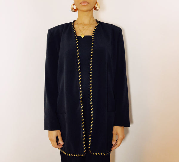 80s Chaus Black and Gold Rope Blazer (Size 14)