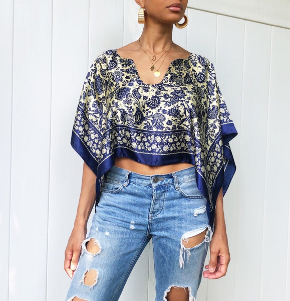 Upcycled Scarf Crop Top (One Size)