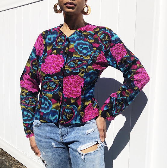 90s Passports for Pier 1 Jewel Tone Button Up (M)