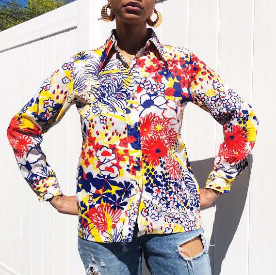 70s Orsini Originals Primary Colors Blouse (Small/Medium)
