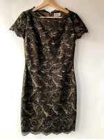 80s Rimini by Shaw Brown Lace Mini Dress (XS/S)