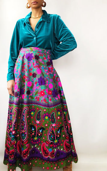 70s Handmade Neon Pink and Purple Paisley Maxi Skirt (L/XL)