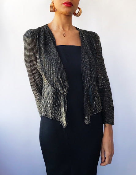 70s Surf and Turf of California Metallic Gold Shrug (M)