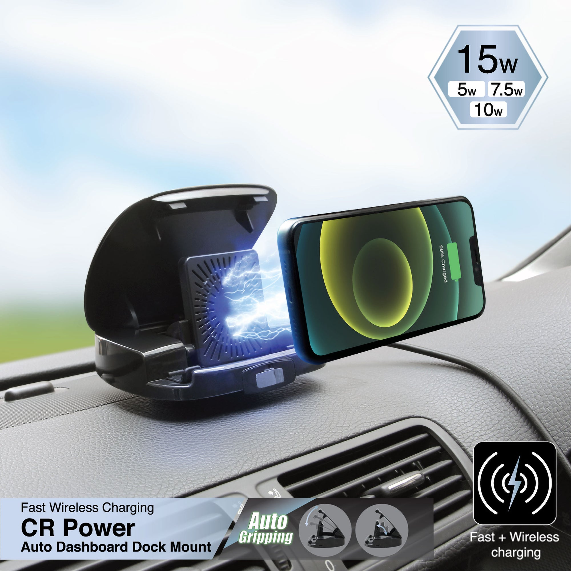 CR Power IR15 Wireless Charging Auto Dashboard Dock Car Mount