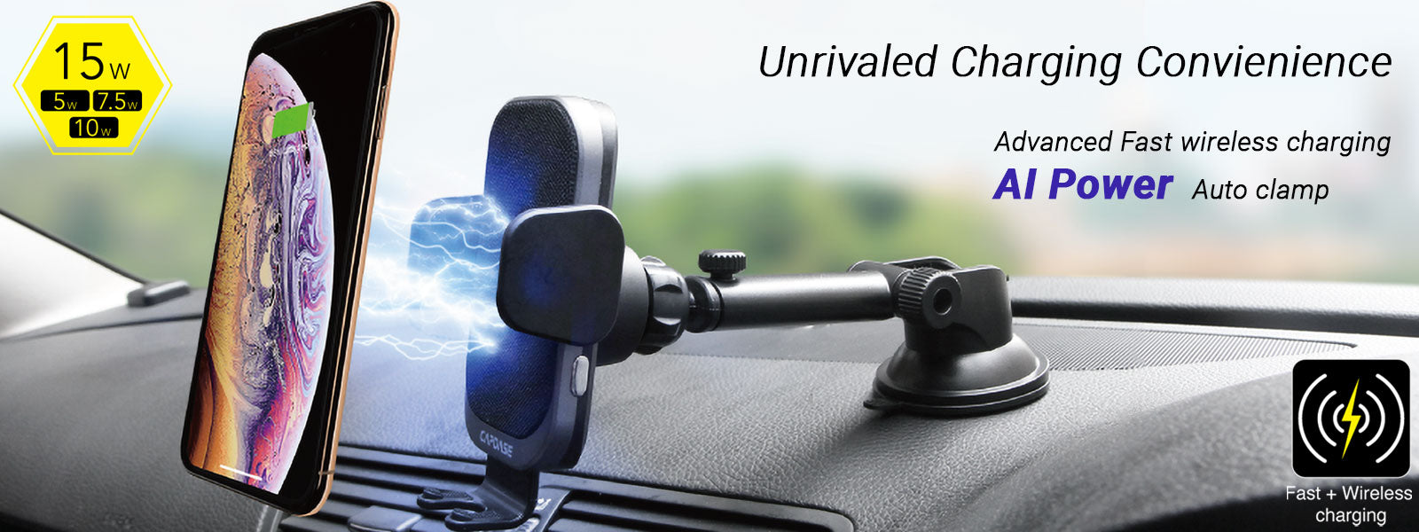 AI Power Auto Clamp Fast Wireless Charging Car Mount