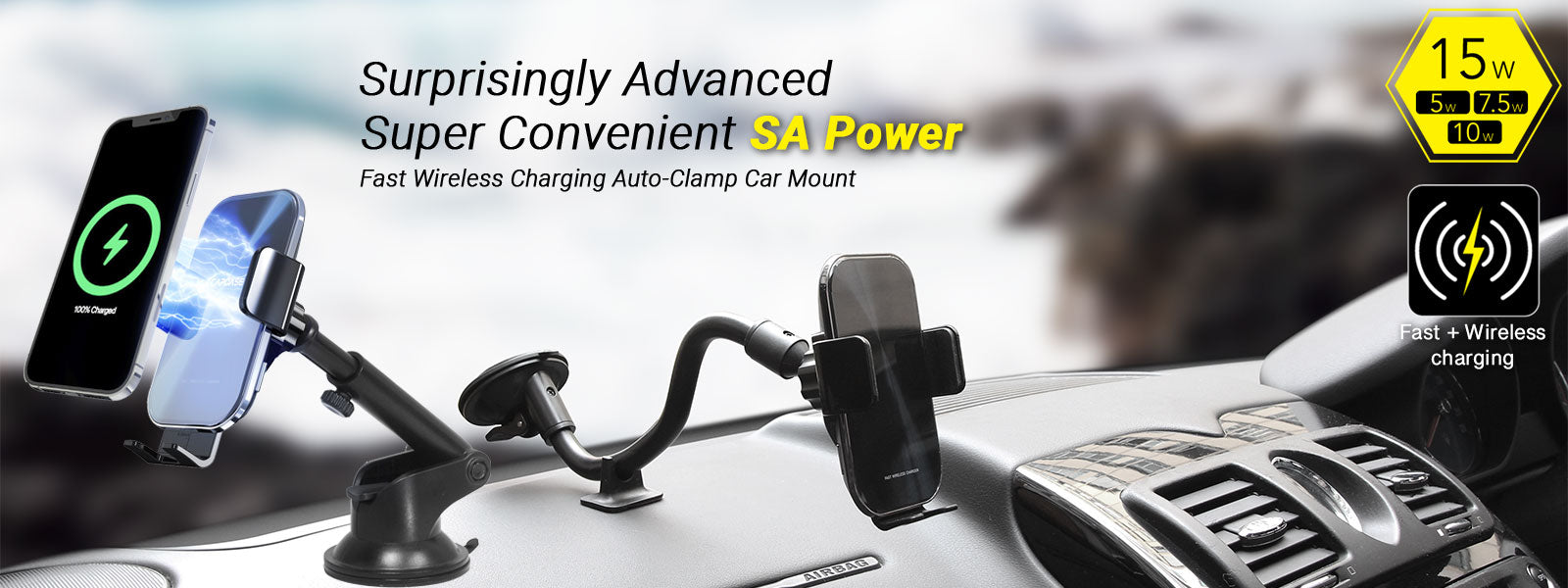 SA Power Fast Wireless Charging Auto-Clamp Car Mount