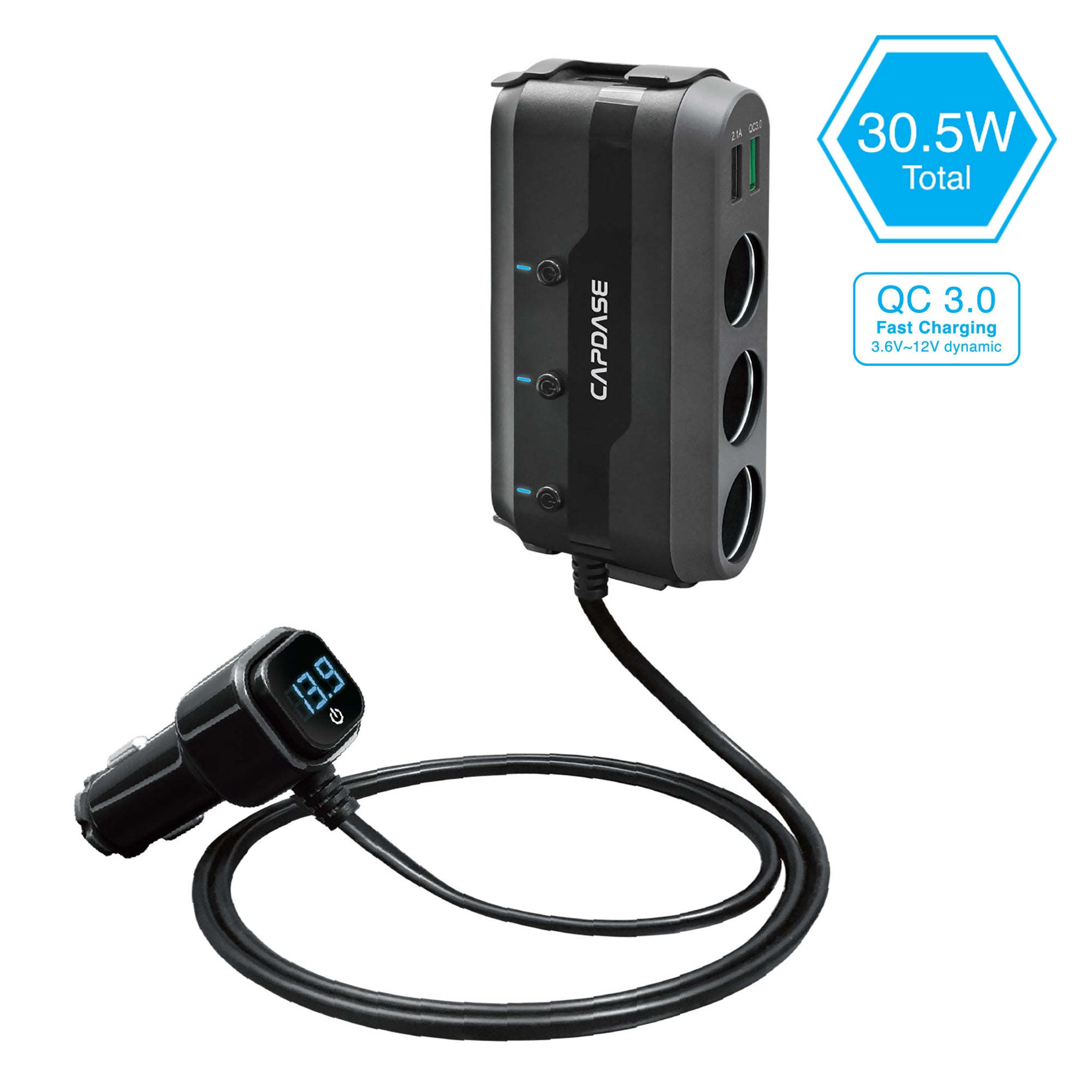 POWERHUB BQ3 3-Socket and 3-USB QC 3.0 Car Charger