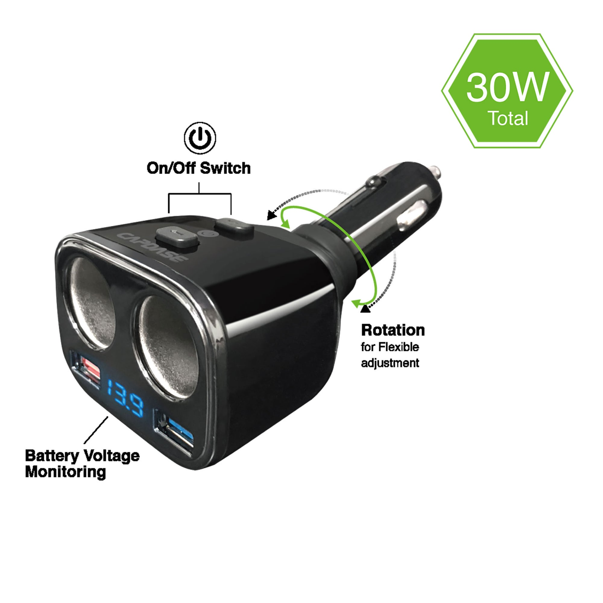POWERHUB BM30 2-Socket and 2-USB QC 3.0 Car Charger