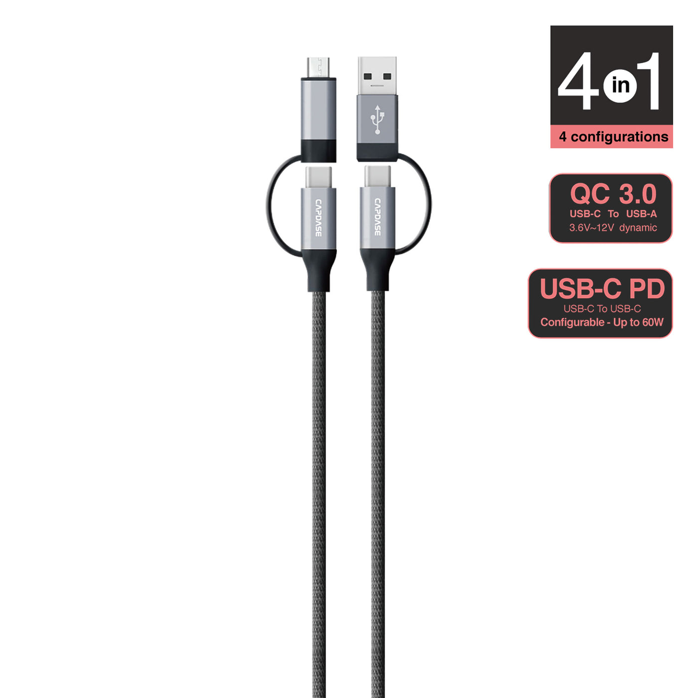 METALLIC AM-CL 3 in 1 USB-A to Mirco USB Cable with