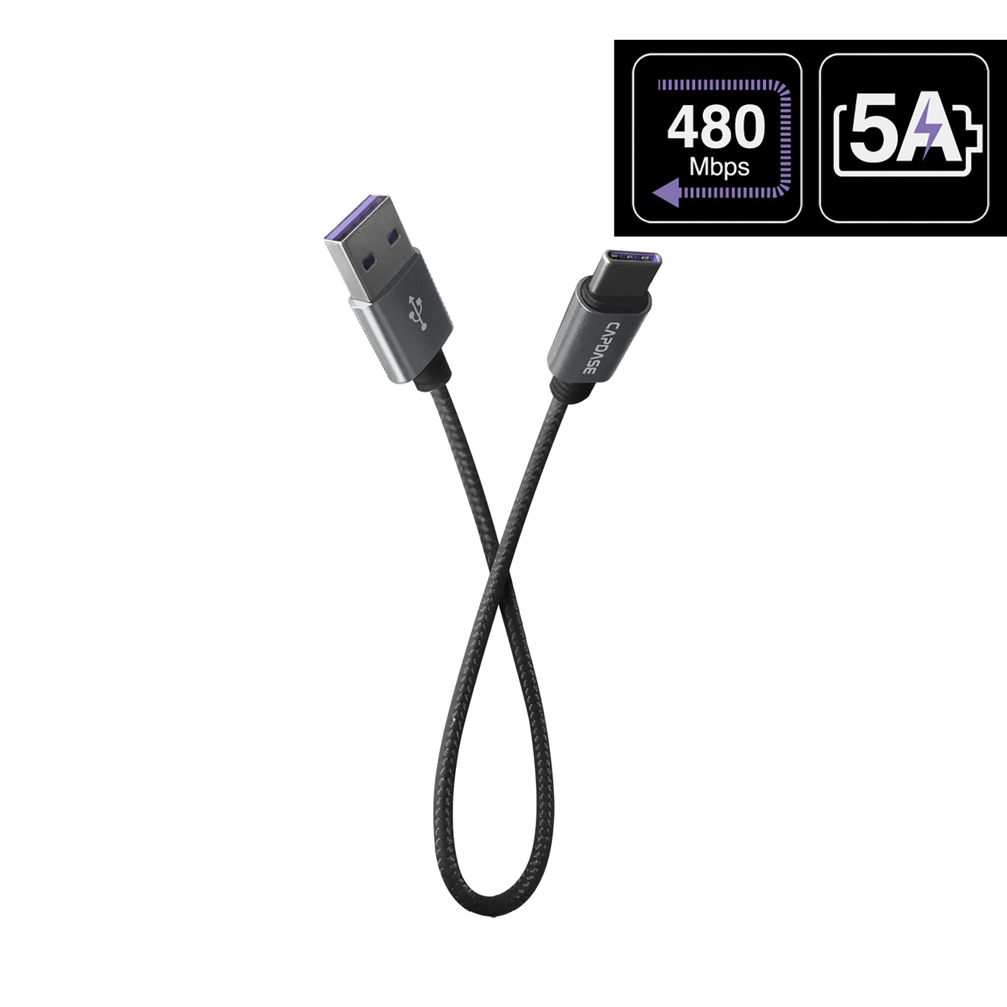 METALLIC CASVQ-5A USB-C To USB-A Sync and Charge Cable 22CM (5A)
