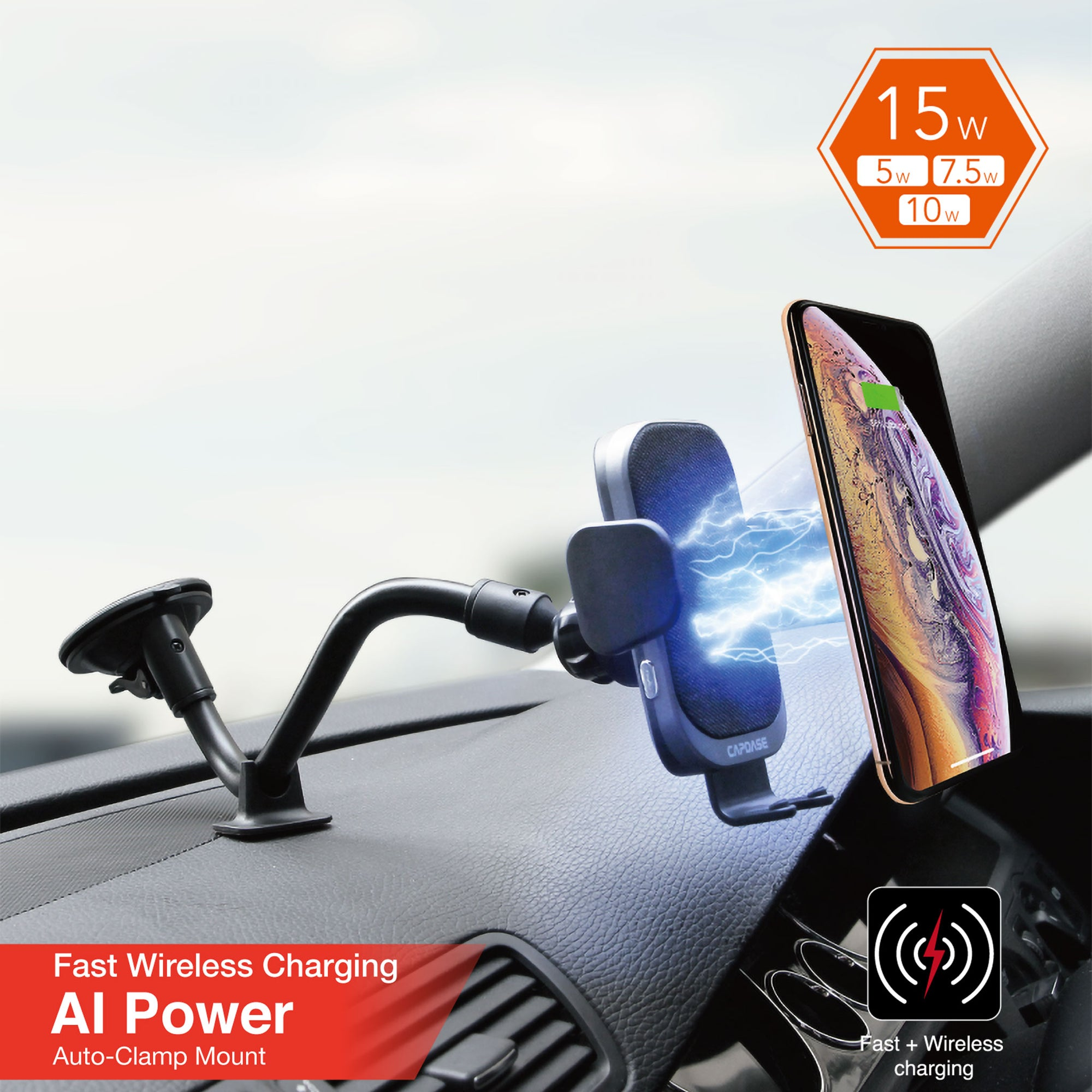AI Power Fast Wireless Car Charging Auto Mount Gooseneck Arm 300mm