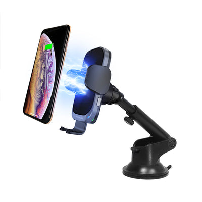 AI Power Fast Wireless Car Charging Auto Mount Telescopic Arm