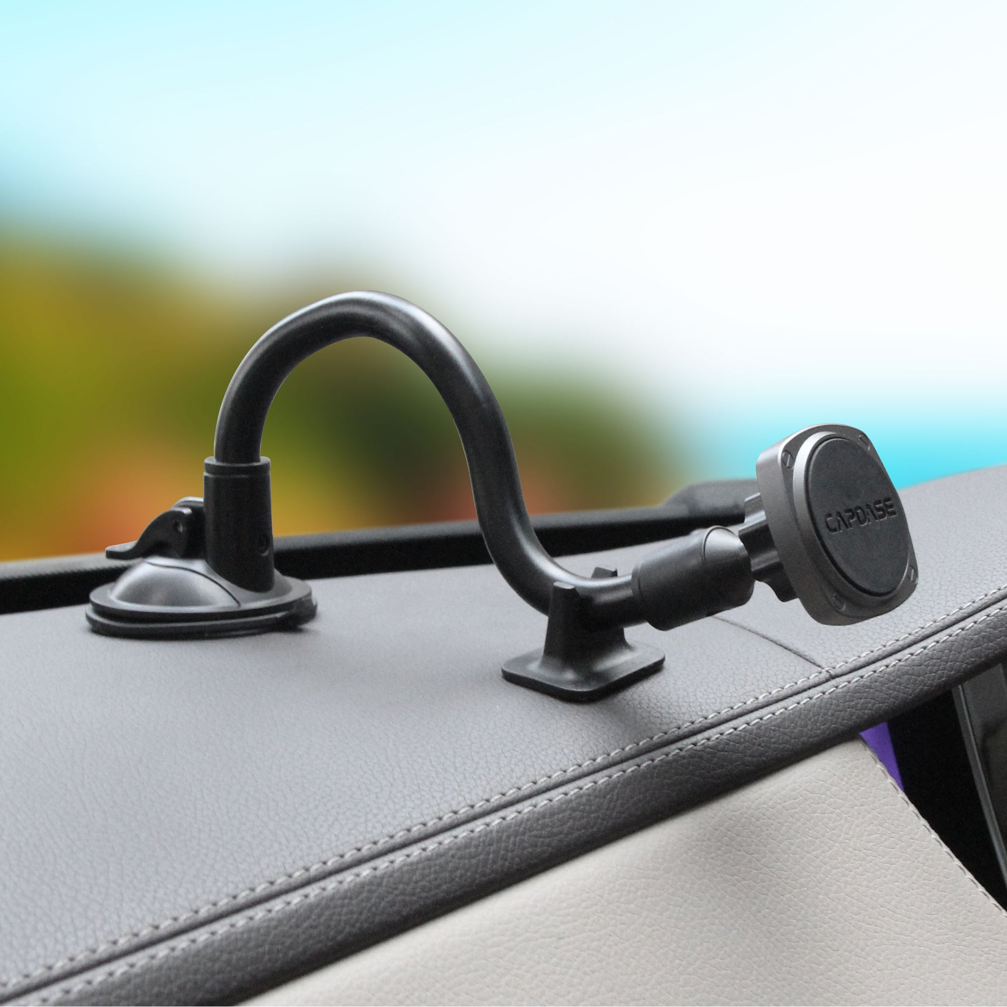 SQUARER Magnetic Car Mount Suction Cup PRO - Gooseneck Arm 300mm