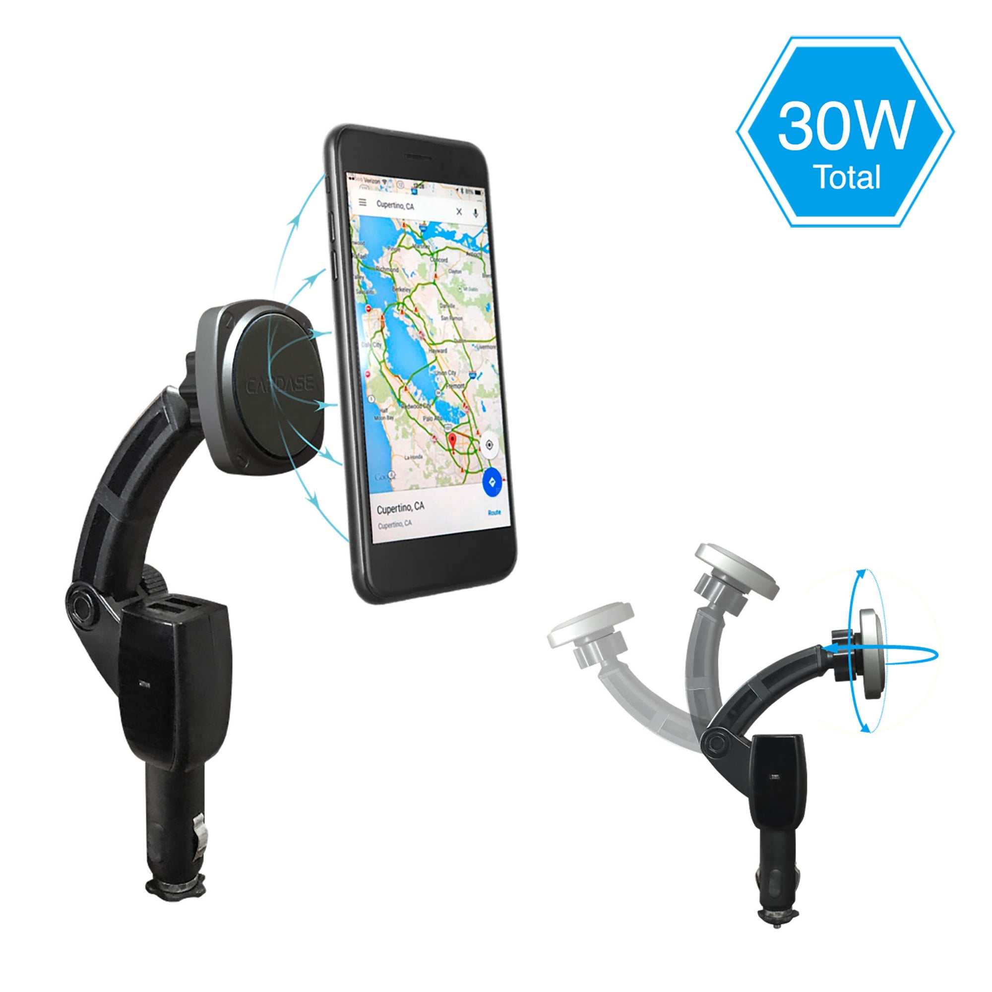 SQUARER-CHARGING ARM F30 QC 3.0 Car Charger Magnetic Mount