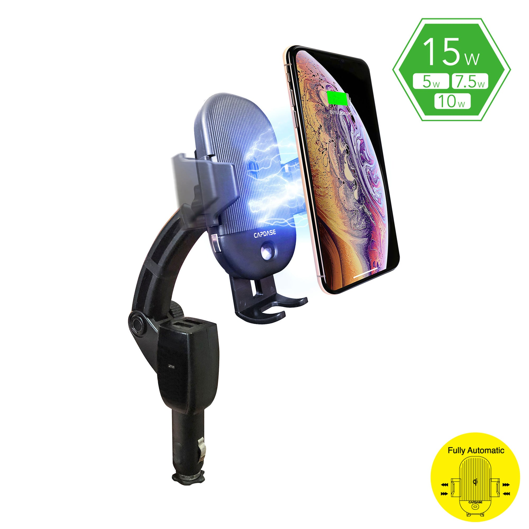CB Power Pro Fast Wireless Charging Auto-Clamp Car Mount Charging Arm