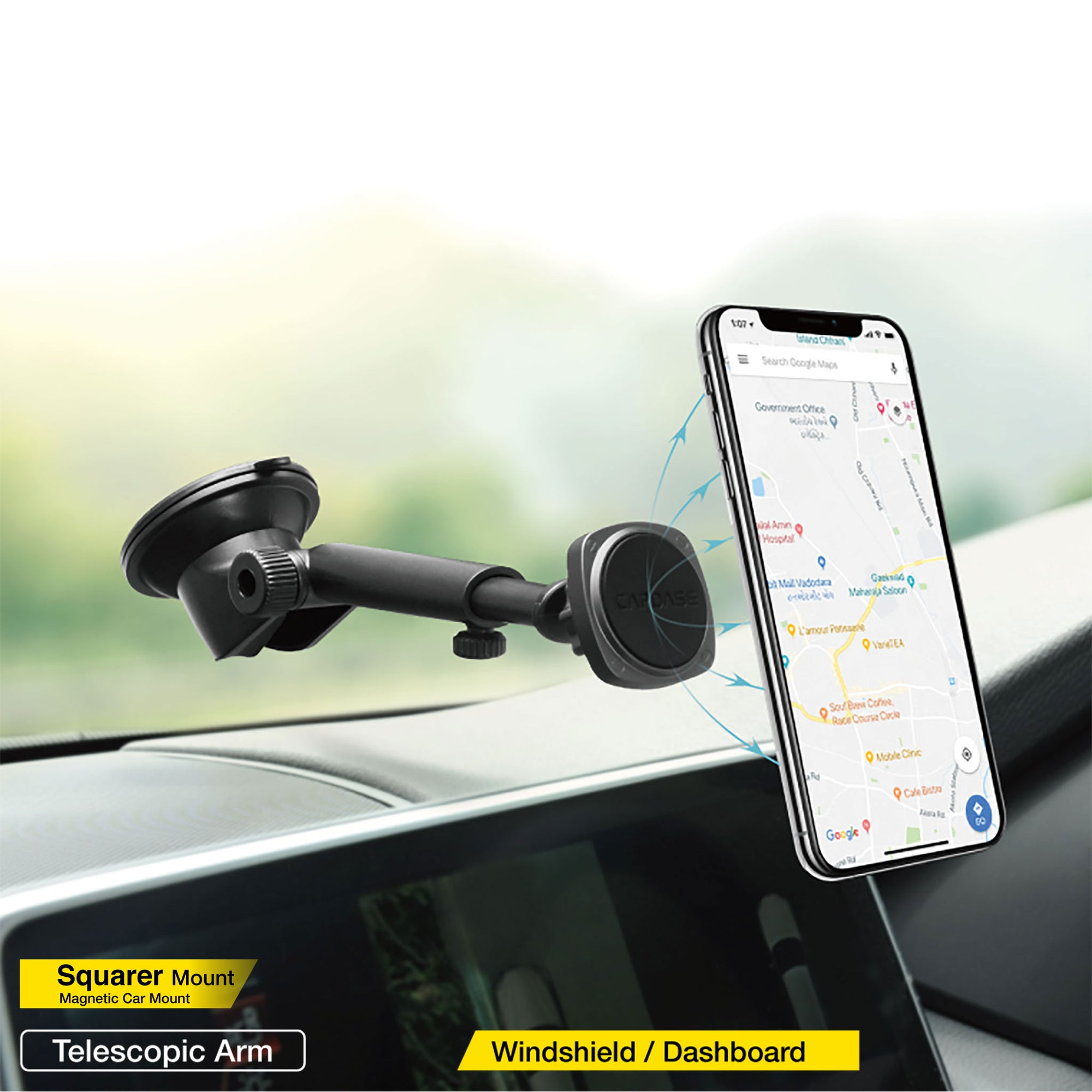 SQUARER Magnetic Car Mount Telescopic Arm