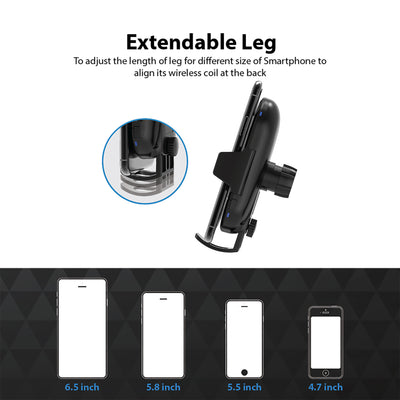 CB Power Pro Fast Wireless Charging Auto-Clamp Car Mount Gooseneck Arm